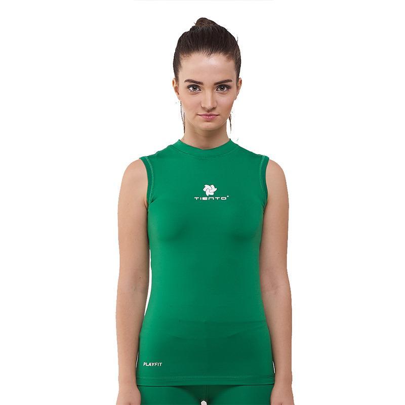 Tiento Baselayer Baju Kaos Dalam Ketat Singlet Lekbong Hijau Putih Base Layer Olahraga Lari Sepak Bola Futsal Voli Running Renang Gym Senam Fitness Yoga Original