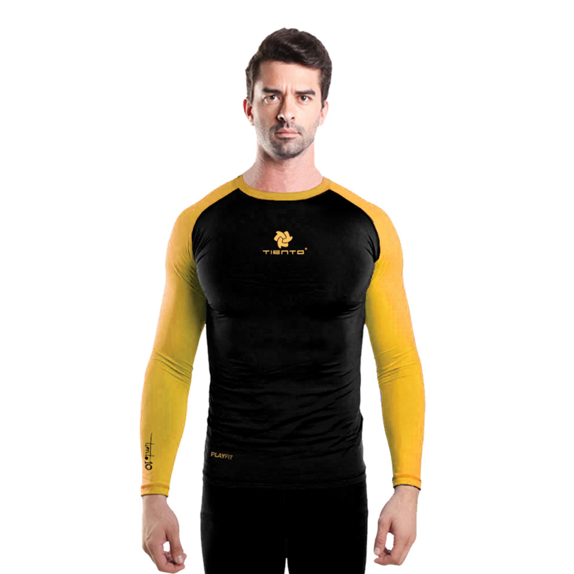 Tiento Baselayer Long Sleeve Black Yellow Baju Kaos Lengan Panjang Ketat Manset Rashguard Compression Base Layer Olahraga Lari Sepak Bola Futsal Voli Running Renang Diving Sepeda Golf Original