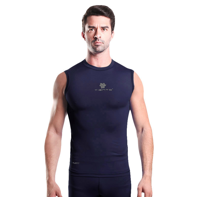 Ulasan Lengkap Tentang Tiento Baselayer Manset Rash Guard Compression Sleeve Less Navy Silver