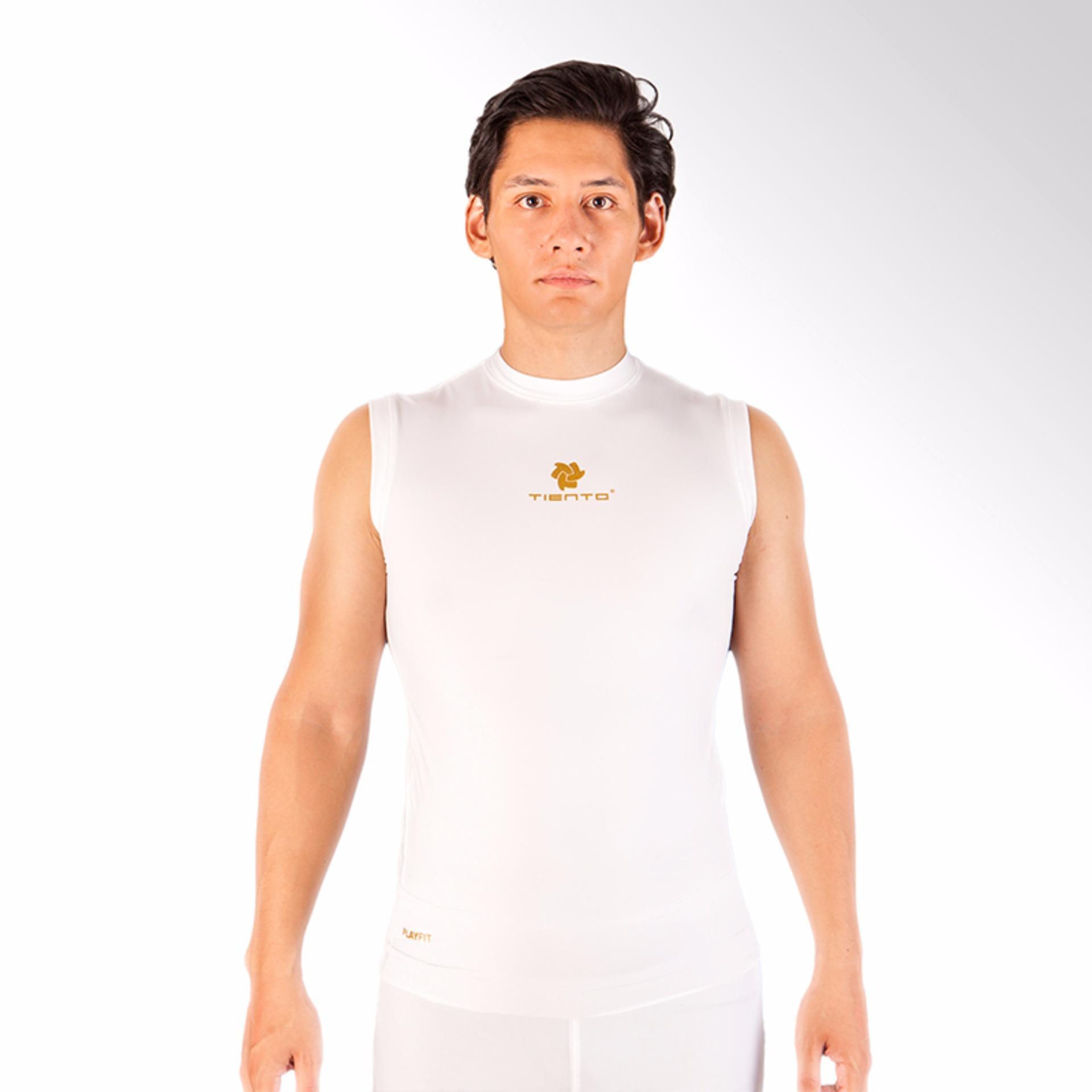 Tiento Baselayer Baju Kaos Dalam Ketat Singlet Lekbong Putih Emas Base Layer Olahraga Lari Sepak Bola Futsal Voli Running Renang Gym Senam Fitness Yoga Original