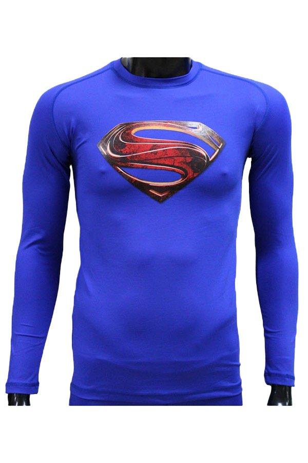 Beli Tiento Baselayer Manset Rashguard Compression Baju Kaos Ketat Olahraga Bola Renang Running Gym Fitness Yoga Long Sleeve Blue Man Of Steel Original Di Jawa Barat