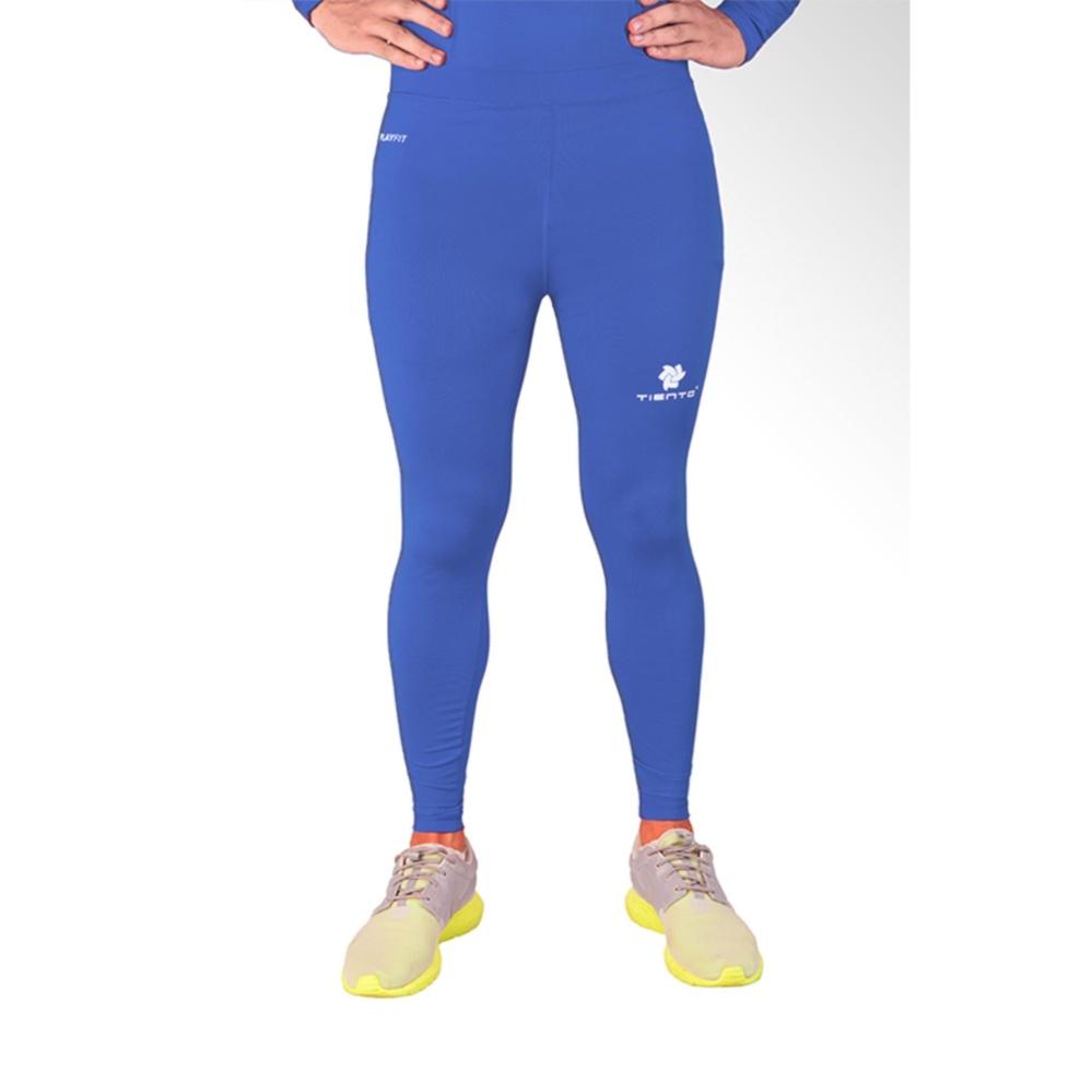 Beli Tiento Baselayer Stretch Legging Celana Ketat Olahraga Gym Yoga Fitness Running Renang Bola Long Pants Blue Silver Original