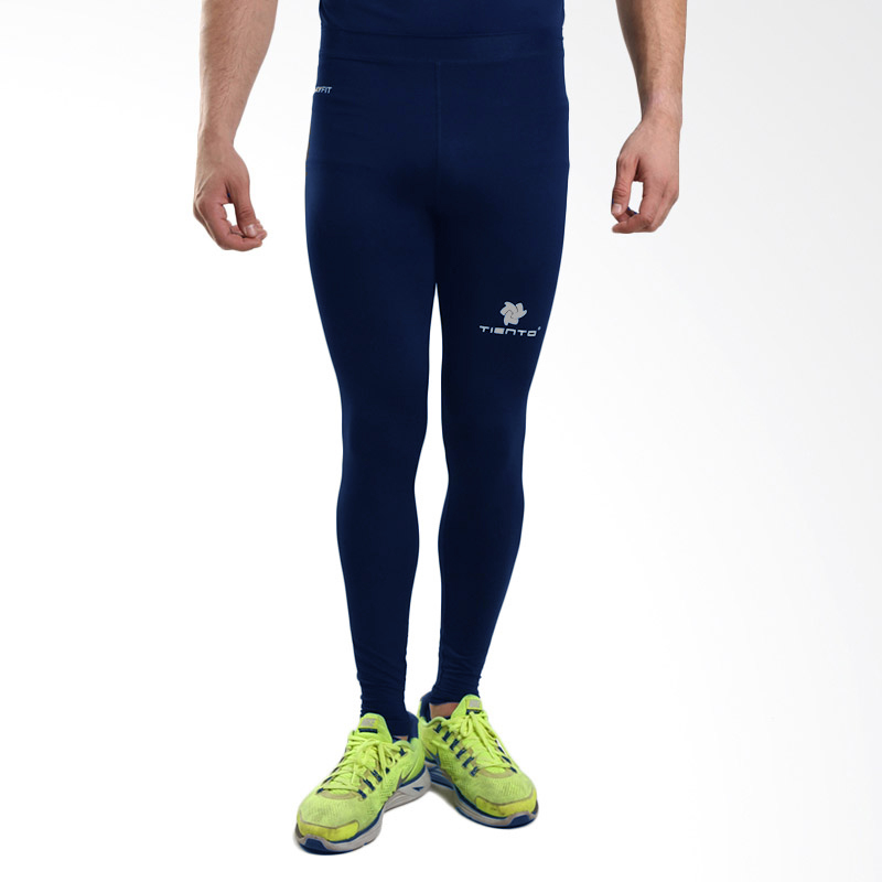 Diskon Tiento Baselayer Stretch Legging Celana Ketat Olahraga Gym Yoga Fitness Running Renang Bola Long Pants Navy Silver Original Tiento Di Jawa Barat