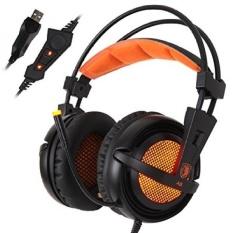 Tinggi Kualitas SADES A6 USB PC Gaming Headset Urround Suara Stereo Gaming Headphone Over Ear Headband dengan Sensitivitas Tinggi MicrophoneVolume Control Breathing LED Lampu untuk Pemain Game PC-Internasional