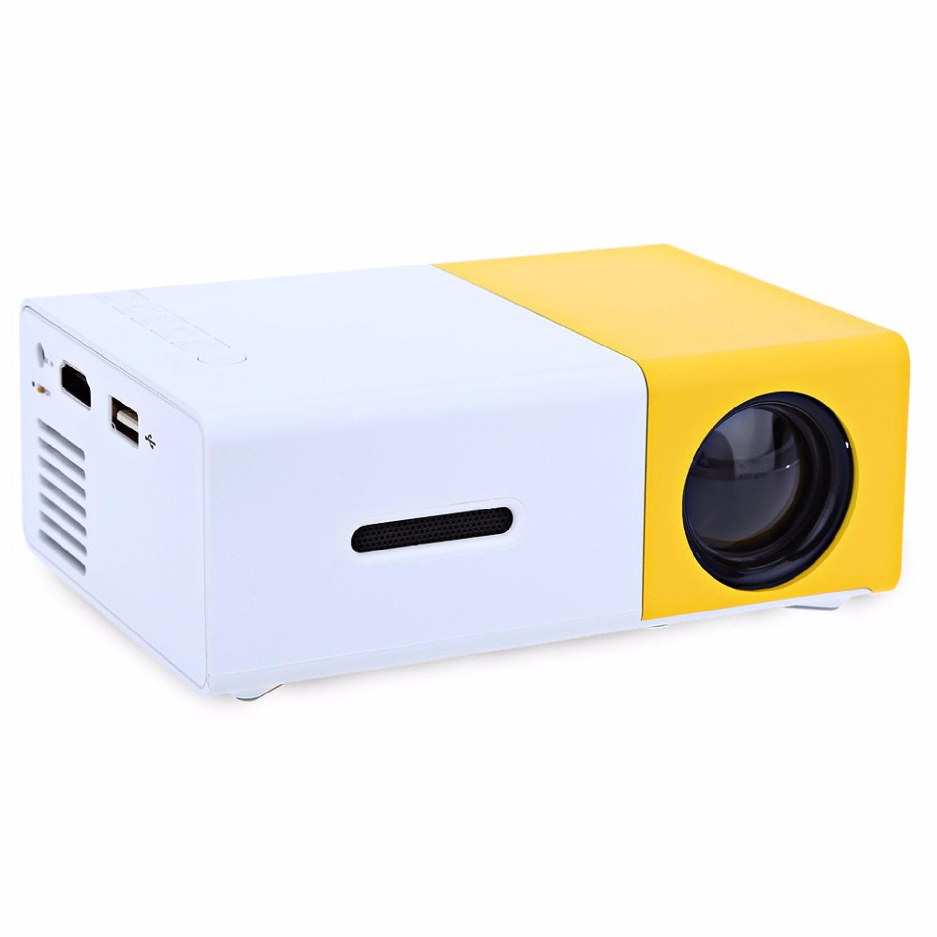 Tokuniku Super Mini Portable LED  Projector YG300 LCD Support 1080P 400 - 600 Lumens 320 x 240 Pixels Home Cinema - Putih/Kuning