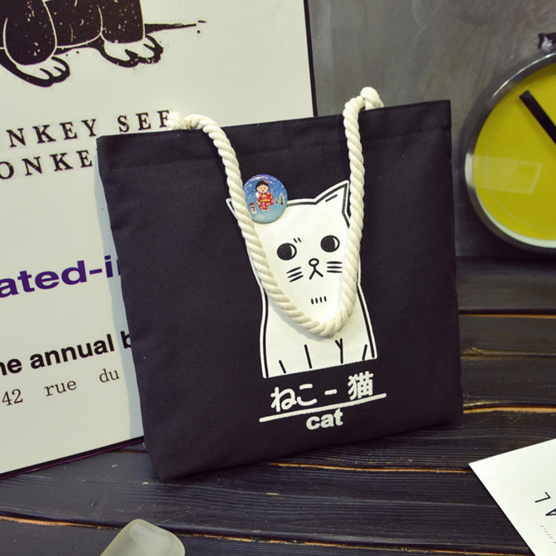 Spek Tokyo Cat Canvas Tote Bag