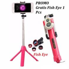 Paket Selfie Tongsis HP 3 IN 1 With Remote Wireless Shutter Limited Edition 7STAR - Tongsis Bluetooth 7STAR 3 in 1 Dengan Bluetooth + Gratis Fish Eye Lensa Kamera HP