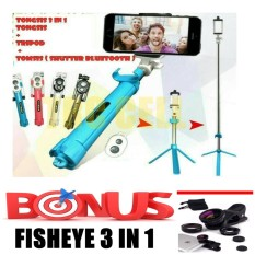 Tongsis 3 in 1 With Bluetooth + Tripod Selfie Stick + Bonus Fisheye 3 in 1