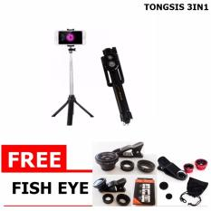 Tongsis 3 In 1 With Bluetooth Tripod Selfie Stick Gratis Fish Eye Lensa Super Wide Clip Lens 3 In 1 Dki Jakarta Diskon