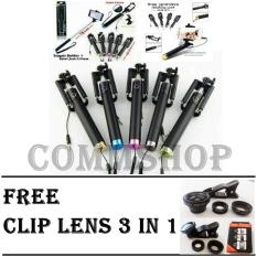 Tongsis Monopod Full Black + Free Clip Lens 3in1