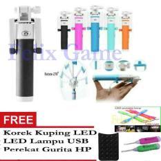 Tongsis Monopod Selfie Stick Kombinasi Hitam + Gratis Perekat Gurita + Korek Kuping LED + LED
