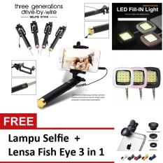 Tongsis Monopod/ Selfie Stick Paket Combo Travel + Lampu Selfie + Lensa Fish Eye 3