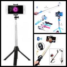Tongsis Tripod Remote Bluetooth Shutter 3 In 1 - Hitam
