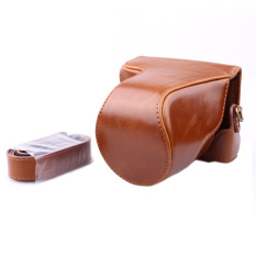 Top PU Leather Bag Bag Cover dengan Tali Bahu untuk Canon EOS M10 Brown (Kamera Tidak Termasuk)
