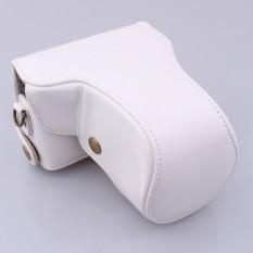 Kulit PU Paling Bagus Tas Wadah Kamera Penutup dengan Strap Bahu Forcanoneos-M/EOS-M2 Putih (Kamera Tidak Termasuk)-Intl