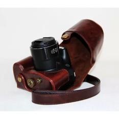 Kulit PU Paling Bagus Tas Wadah Kamera Cover dengan Tali Bahu untuk Canonpowershot SX60 Kopi (Kamera Tidak Termasuk)-Intl