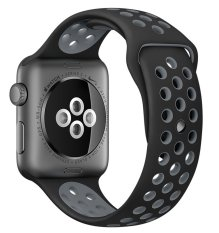Jual Top4Cus Asli 1 1 Seri 2 Silicone Pasir Untuk Apple Nike Iwatch Penggantian Lembut Sport Band Untuk Apple Watch Iwatch Hitam Cool Grey Kecil Medium 42Mm Intl Ori