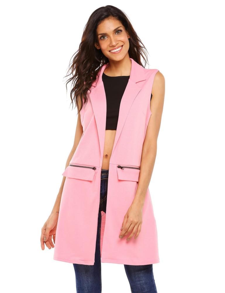 Toprank Fashion Wanita Tanpa Lengan Terbuka Depan Zip Pocket Vest Rompi (Pink)-Intl