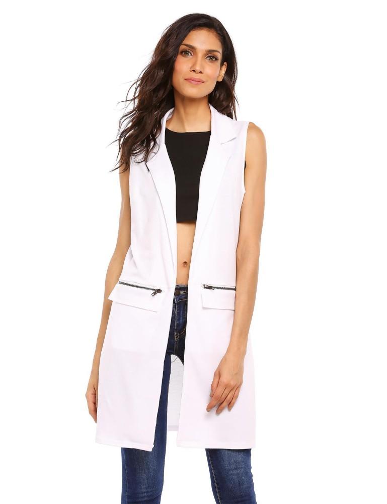Toprank Fashion Wanita Tanpa Lengan Terbuka Depan Zip Pocket Vest Rompi (Putih)-Intl