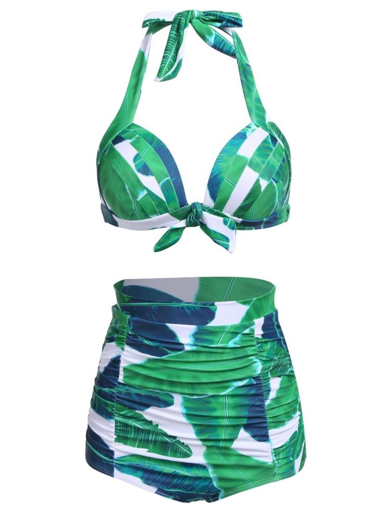 Topsellers365 Modis untuk Wanita Antik Gaya Ruched Tinggi Waisted Mandi Setelan Bikini (Hijau)-Internasional