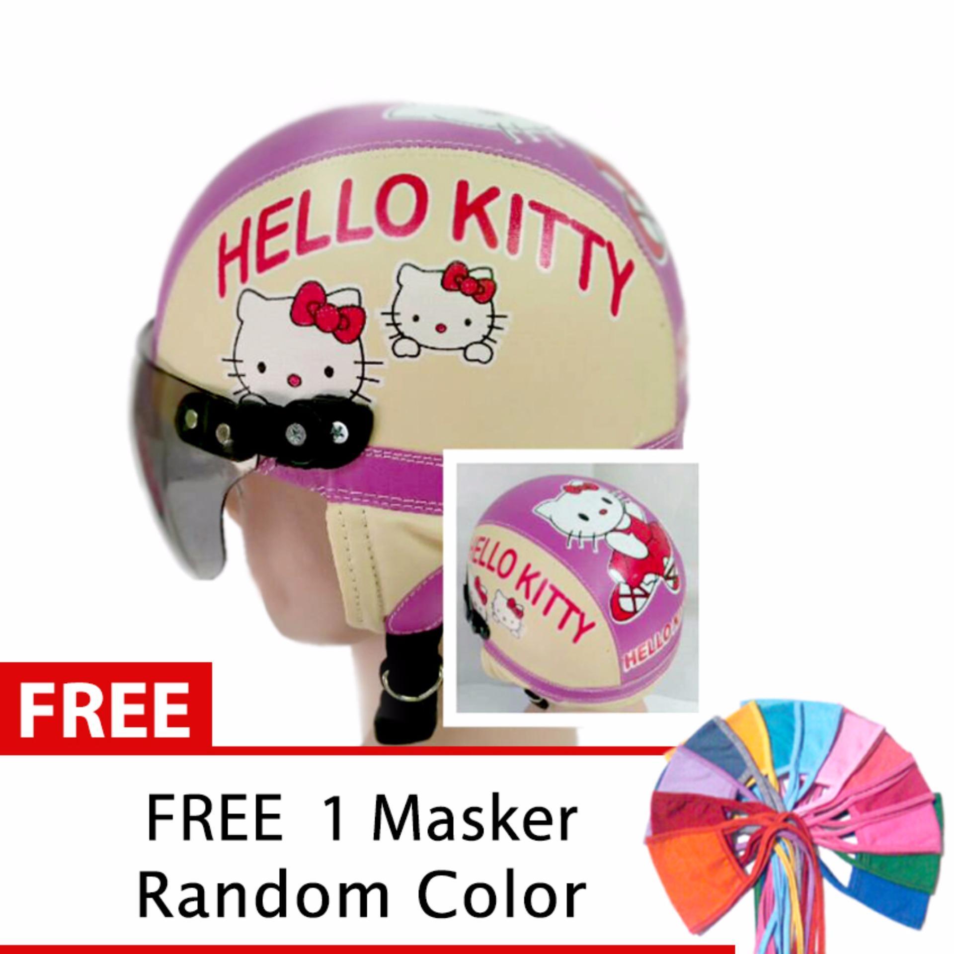 Beli Toserba Helm Anak Lucu Usia 1 4 Tahun Karakter Hello Kitty Cream Ungu Free Masker Mulut Nyicil