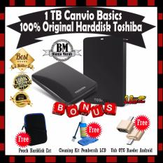 Toshiba Canvio Basic 1TB - HDD / HD / Hardisk Eksternal - Hitam - GRATIS Pouch Harddisk + Cleaning Kit Pembersih LCD PC Laptop & Usb OTG Reader Mini