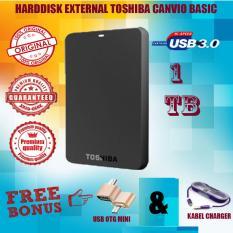 Toshiba Canvio Basic 1TB - HDD / HD / Hardisk Eksternal - Hitam - Gratis Usb Otg Mini Reader + Kabel Charger Micro Tali Warna