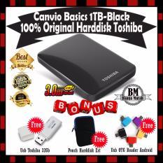 Toshiba Canvio Basics 1TB - HDD / HD / Hardisk Eksternal - Hitam GRATIS Usb TOSHIBA 32GB + Pouch Harddisk & Usb OTG Reader Android