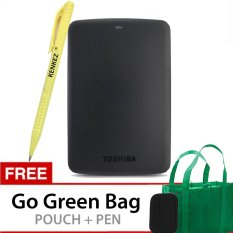 Kualitas Toshiba Canvio Basics 1Tb Portable Hard Drive Hitam Gratis Go Green Bag Pouch Pen Toshiba