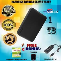 Toshiba Canvio Ready 1TB Harddisk External - Gratis Flashdisk 32Gb Toshiba + Pouch Harddisk +  Usb Hub 4 Port