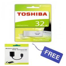 Toshiba Flashdisk Hayabusa 32 GB - Putih + Gratis OTG USB Cable for Android