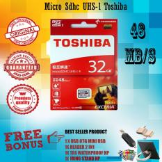 Toshiba Micro SD 32GB Exceria UHS-1 Class 10 48Mb/s Gratis Usb Otg Mini Reader + Reader 2in 1 + Tas Waterproof + Iring Stand Hp