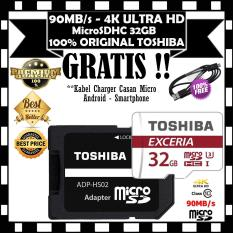 TOSHIBA Micro SD Card With Adapter 32GB Class10 UHS-3 90MB/S, Micro SD 32GB memory card 1080p full-HD 3D 4K Video Card - GRATIS Kabel Charger Casan Micro Android