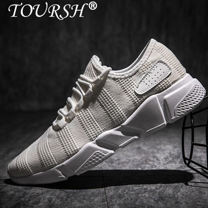 Toursh Pria Sepatu Pria Sepatu Santai Bernapas Datar Renda Fashion Pria Sneakers Olahraga Sepatu Sepatu Lari Intl Toursh Diskon