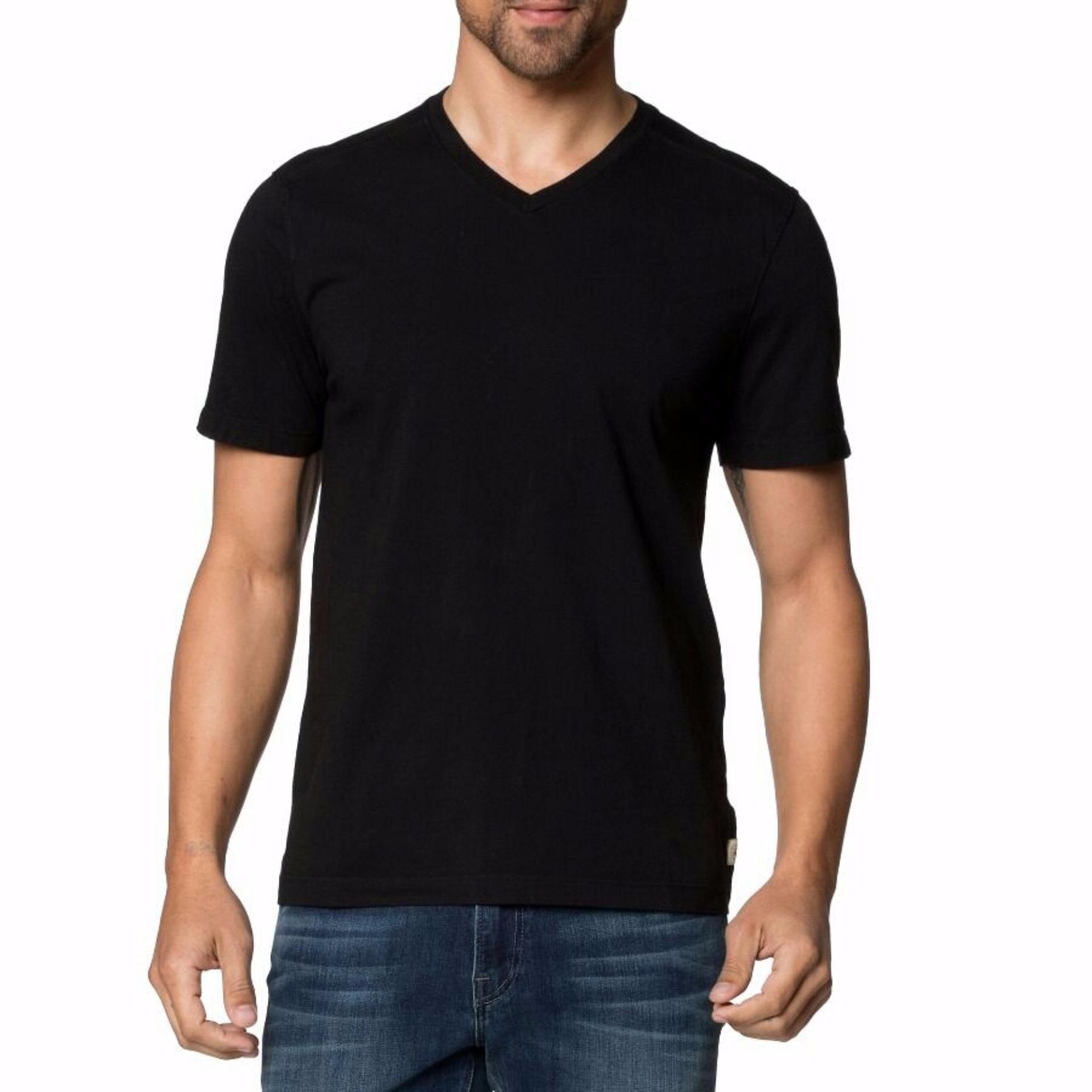 Tradeold T-shirt V-neck Kaos Polos Lengan Pendek - Hitam