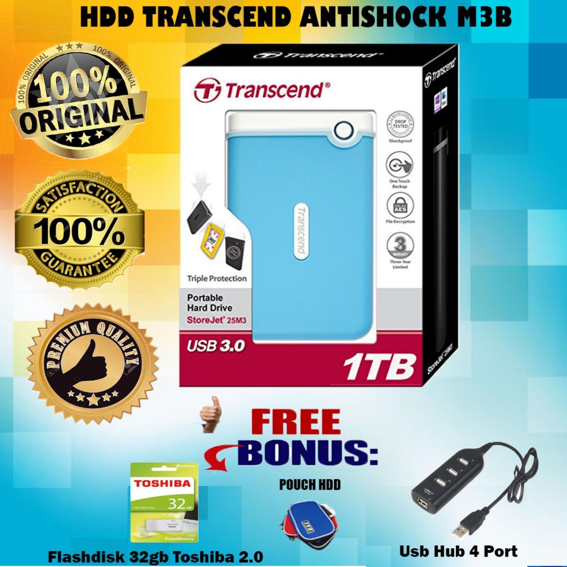 Transcend Hard Drive Harddisk External Anti Banting Antishock 1tb Flasdisk Toshiba 32gb 25m3b Gratis Flashdisk Pouch Usb Hub 4 Port