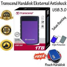 Transcend Harddisk External HDD 1TB Storejet 25H3P Ungu + Gratis Pouch Harddisk