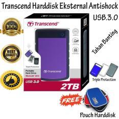 Transcend Storejet Harddisk Eksternal Antishock / Tahan Banting 25H3 2TB - Ungu + Gratis Pouch Harddisk