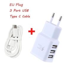 Review Tentang Perjalanan 5 V 2A 3 Port Usb Eu Wall Ac Adptive Fast Charger Adapter Type C Kabel Internasional