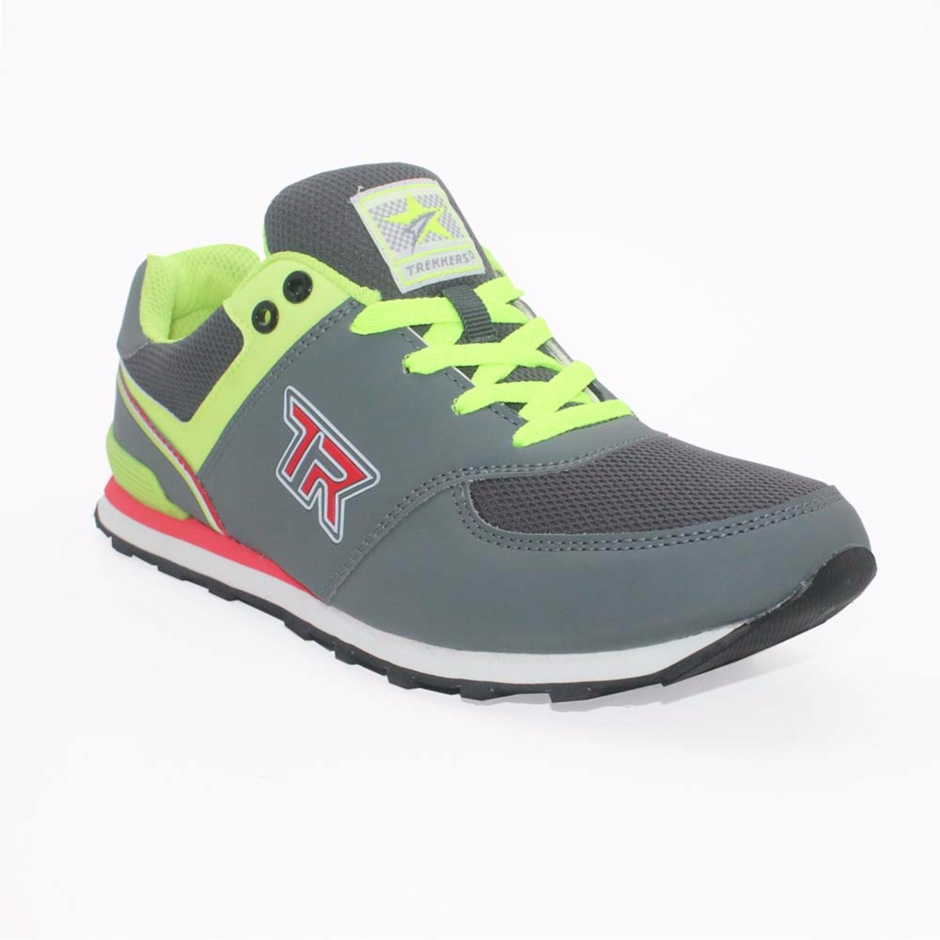 Trekkers JB-Bellagio 2 Sepatu Olahraga Laki-laki Warna Abu Tua/ Hijau Terang