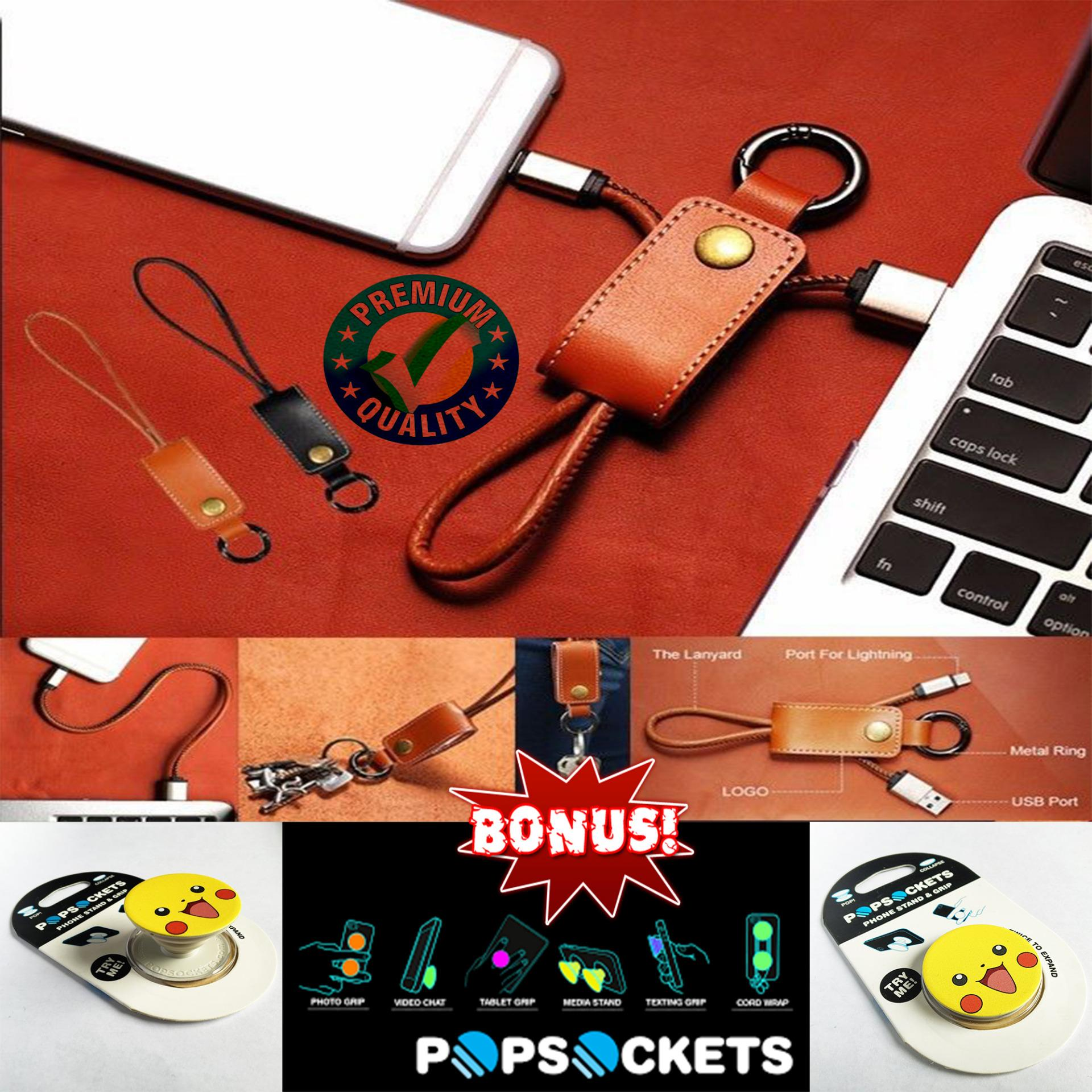 Trend's Kabel Data Micro Usb / Kabel Charger / Gantungan Kunci / Key Chain Leather Usb Data Charger Cable - Hitam + Gratis Pop Socket / Stand Grip Smartphone