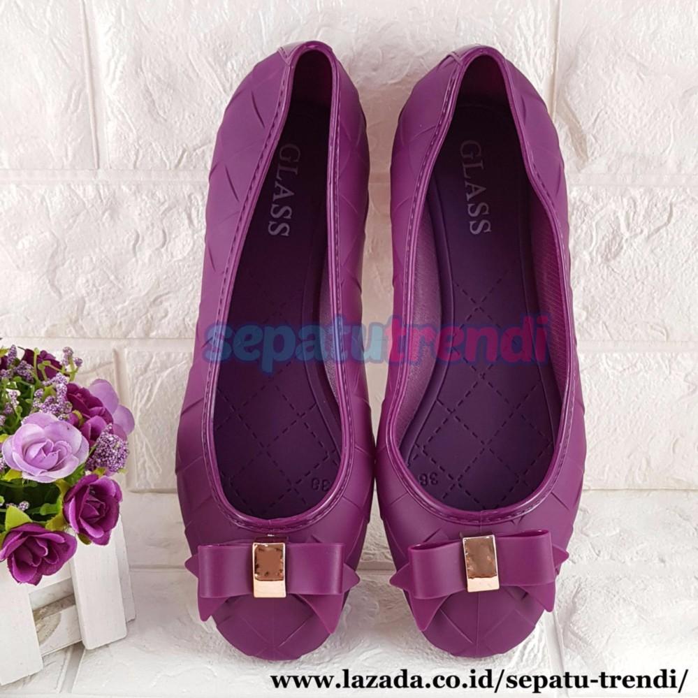 Trendi Sepatu Wanita Flat Shoes Jelly Pita Motif Wajik JLFLWJ   Sepatu  Jelly Shoes   Sepatu aa69afe64f