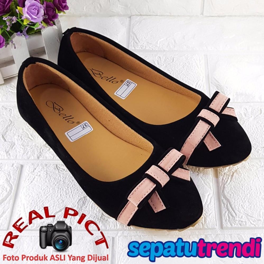 Trendi Sepatu Wanita Flat Shoes Pita Knot Lis BO27