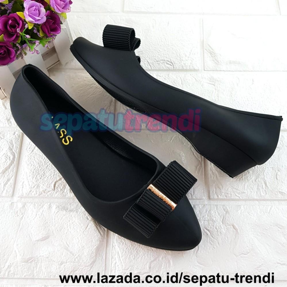 Trendi Sepatu Wanita Jelly Wedges Pita Tumpuk JLPTATMP / Sepatu Jelly / Jelly Shoes / Sepatu Cewe / Sepatu Kerja / Sepatu Kuliah