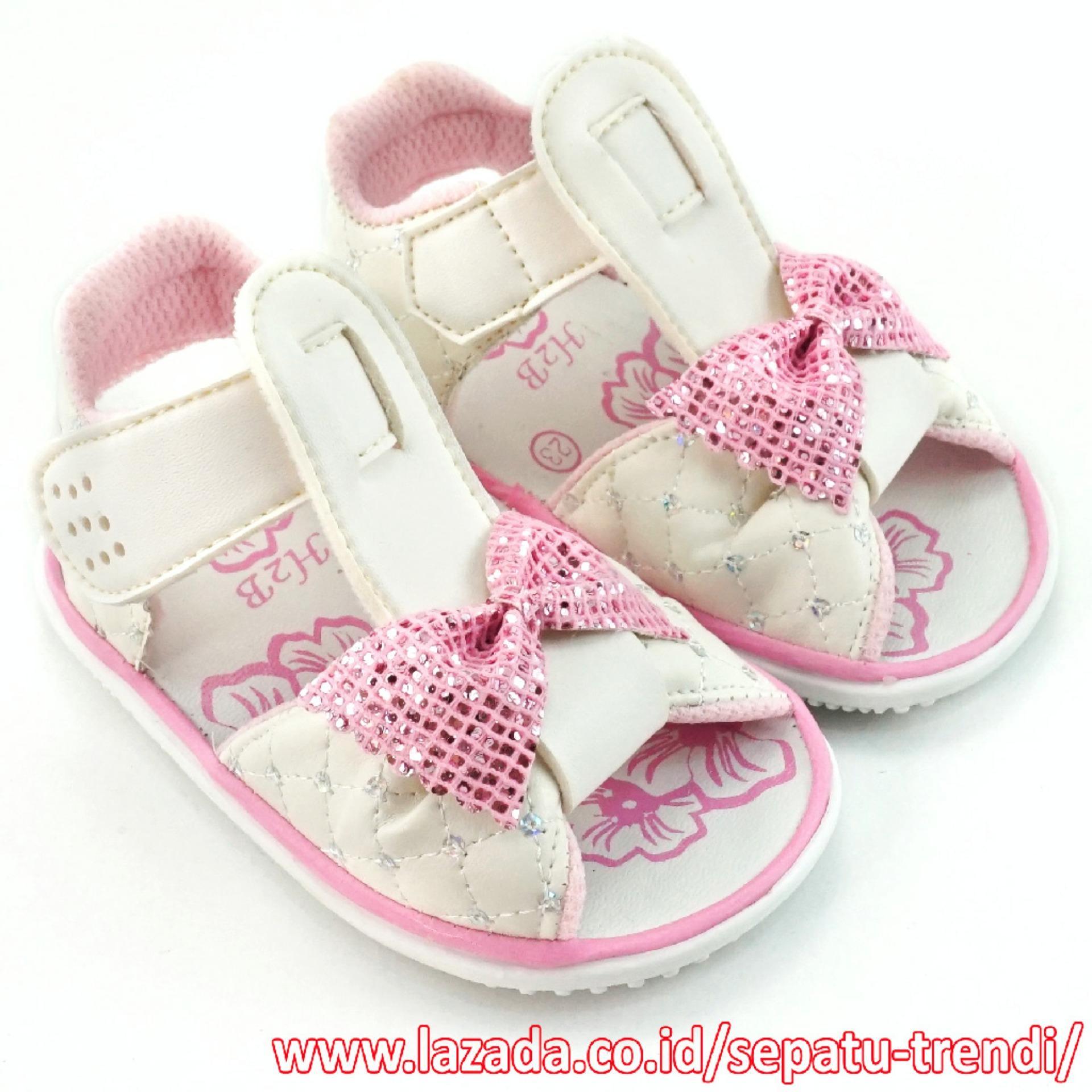 Harga Trendishoes Sandal Bunyi Anak Perempuan Pita Putih Original