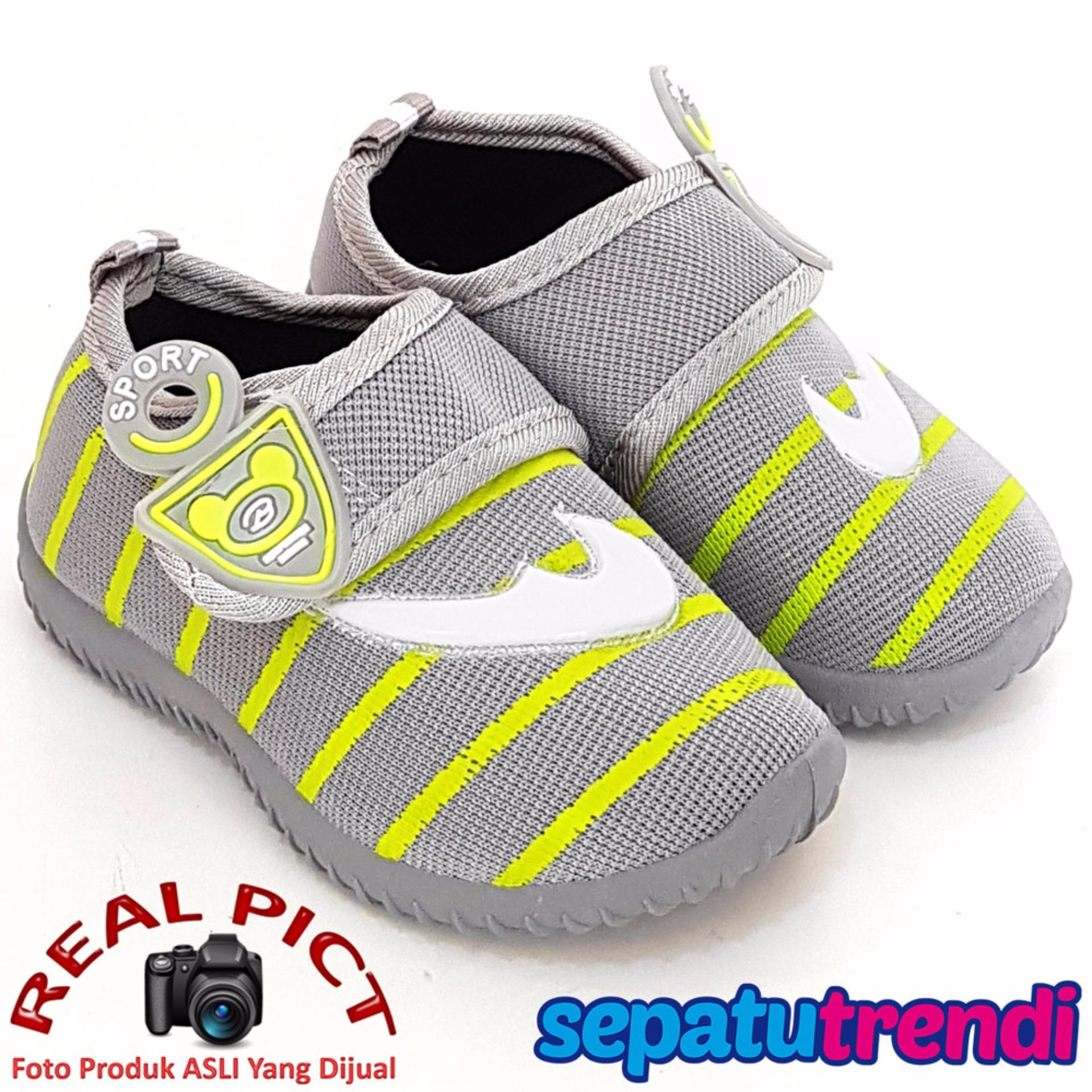 Jual Trendishoes Sepatu Anak Bayi Cowo Velcro Boomerang Rdcnik Grey Branded Original