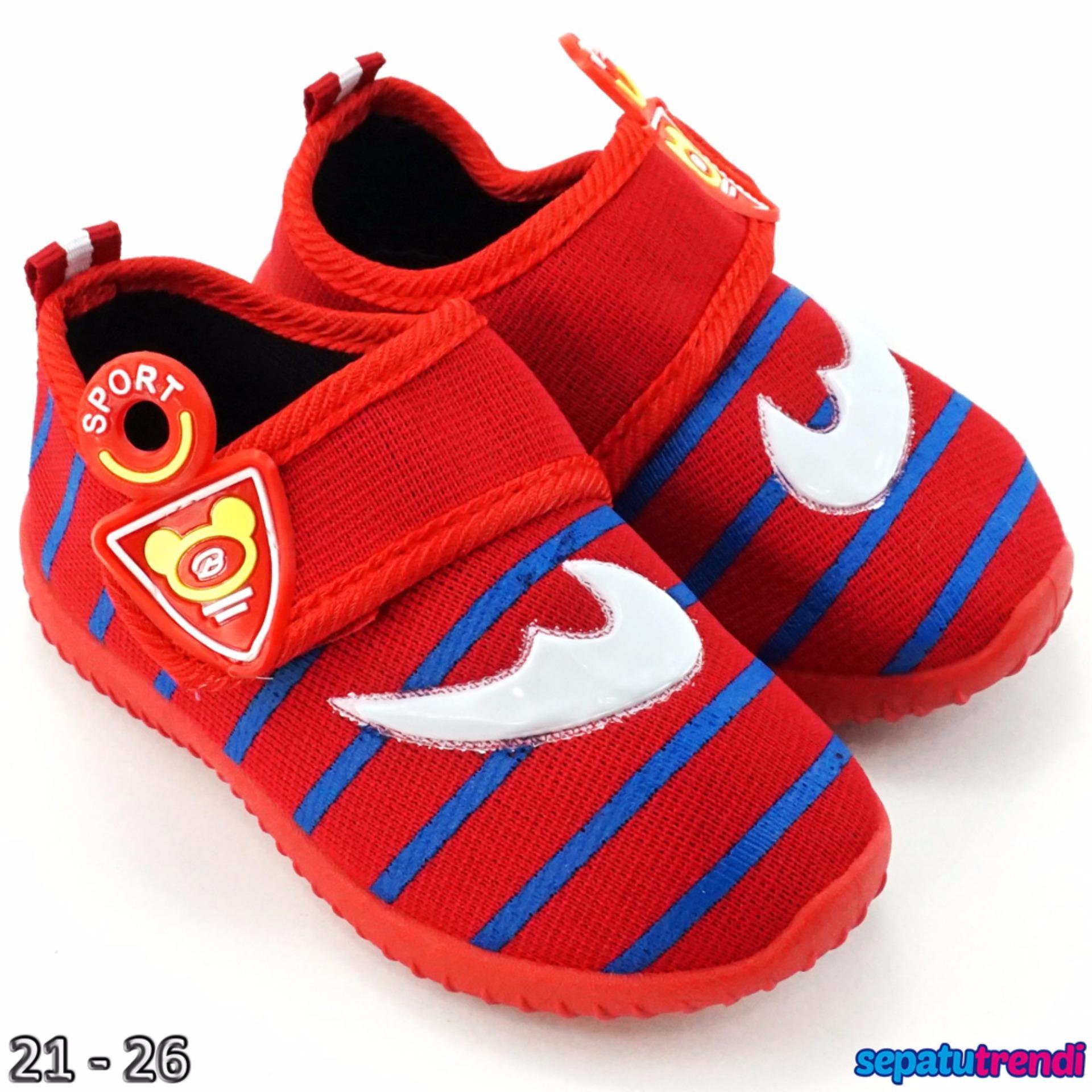 Harga Trendishoes Sepatu Anak Bayi Cowo Velcro Boomerang Rdcnik Merah Merk Trendishoes