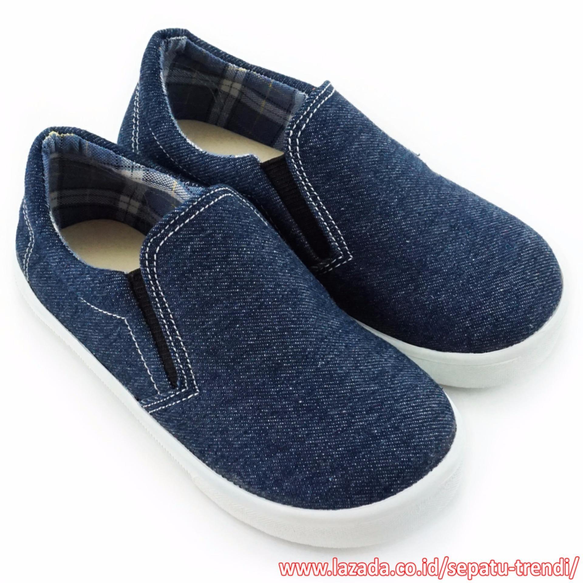 Harga Trendishoes Sepatu Anak Laki Slip On Denim Elegan 01Slag Navy Trendishoes Online