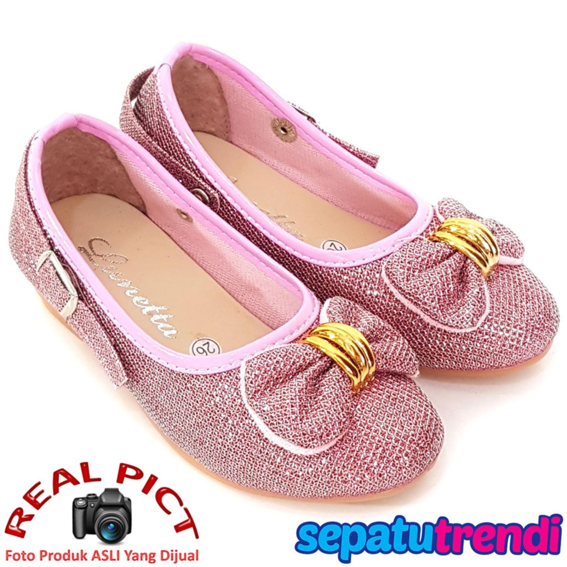 Toko Trendishoes Sepatu Anak Perempuan Glitter Pita Depan Apptdpn Pink Jawa Barat