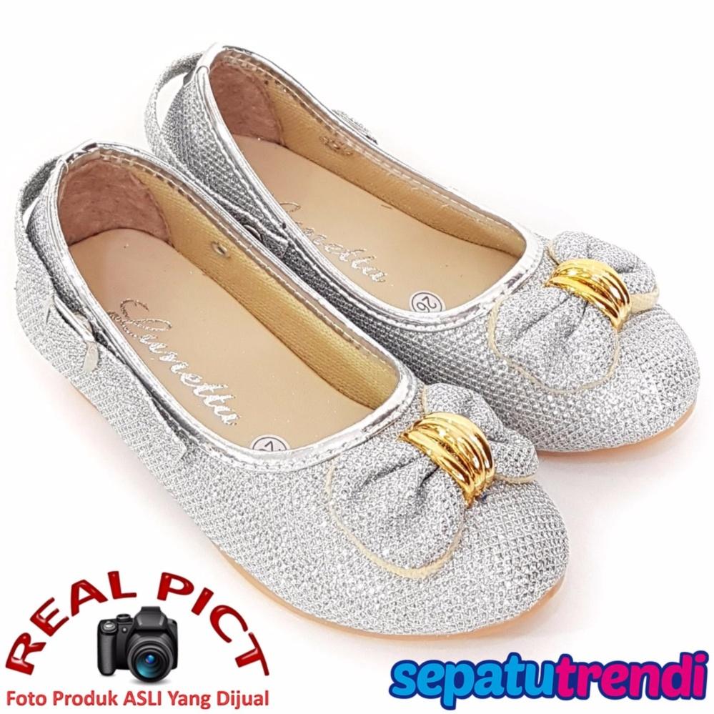 Harga Trendishoes Sepatu Anak Perempuan Glitter Pita Depan Apptdpn Silver Online